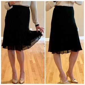 Banana Republic 100% Silk Black Midi Skirt Size 0
